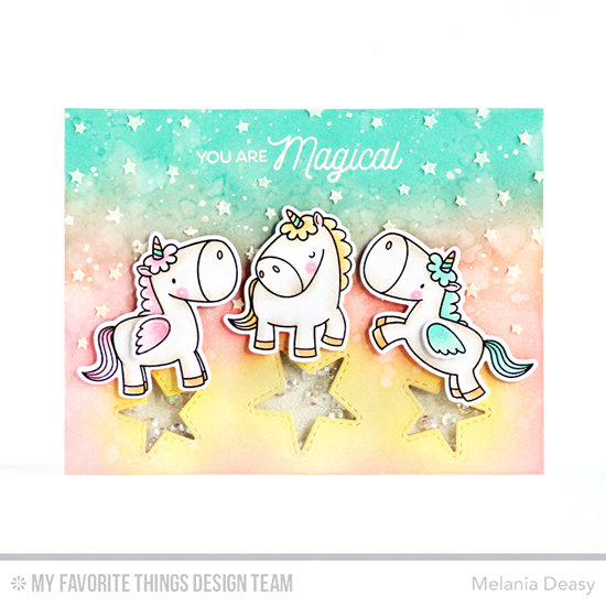 Handmade card from Melania Deasy featuring the Birdie Brown Magical Unicorns stamp set and Die-namics and Inside & Out Stitched Stars and Stars in the Sky - Horizontal Die-namics #mftstamps