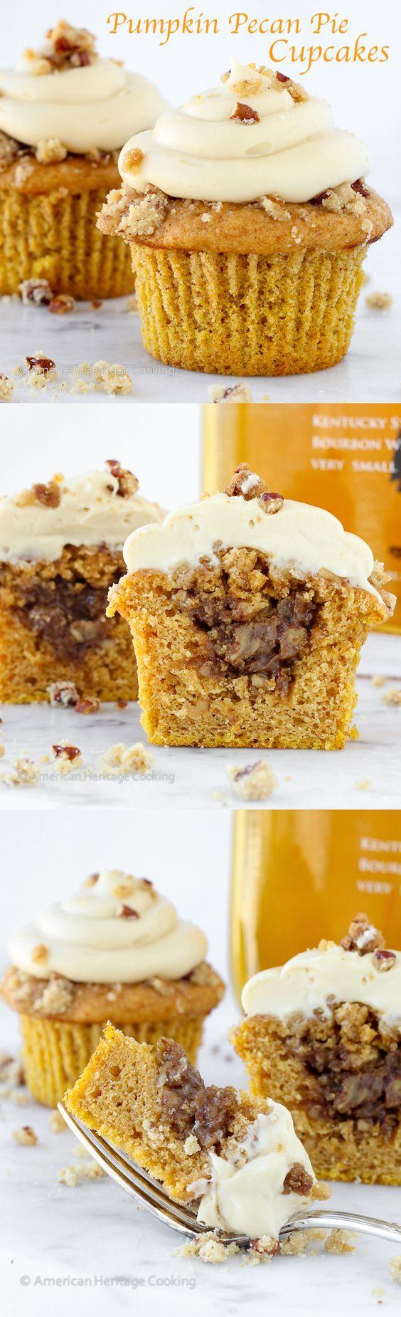 Pumpkin Pecan Pie Cupcakes (Bourbon Brown Sugar Cream Cheese Frosting)