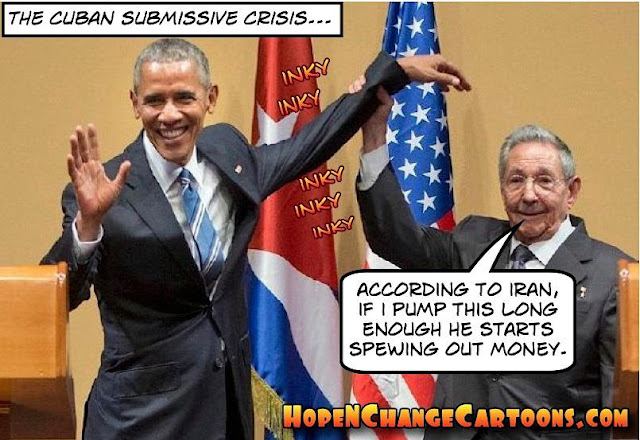 obama, obama jokes, political, humor, cartoon, conservative, hope n' change, hope and change, stilton jarlsberg, raul castro, limp wrist, cuba, iran
