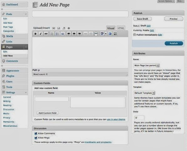 Adding new page in wordpress