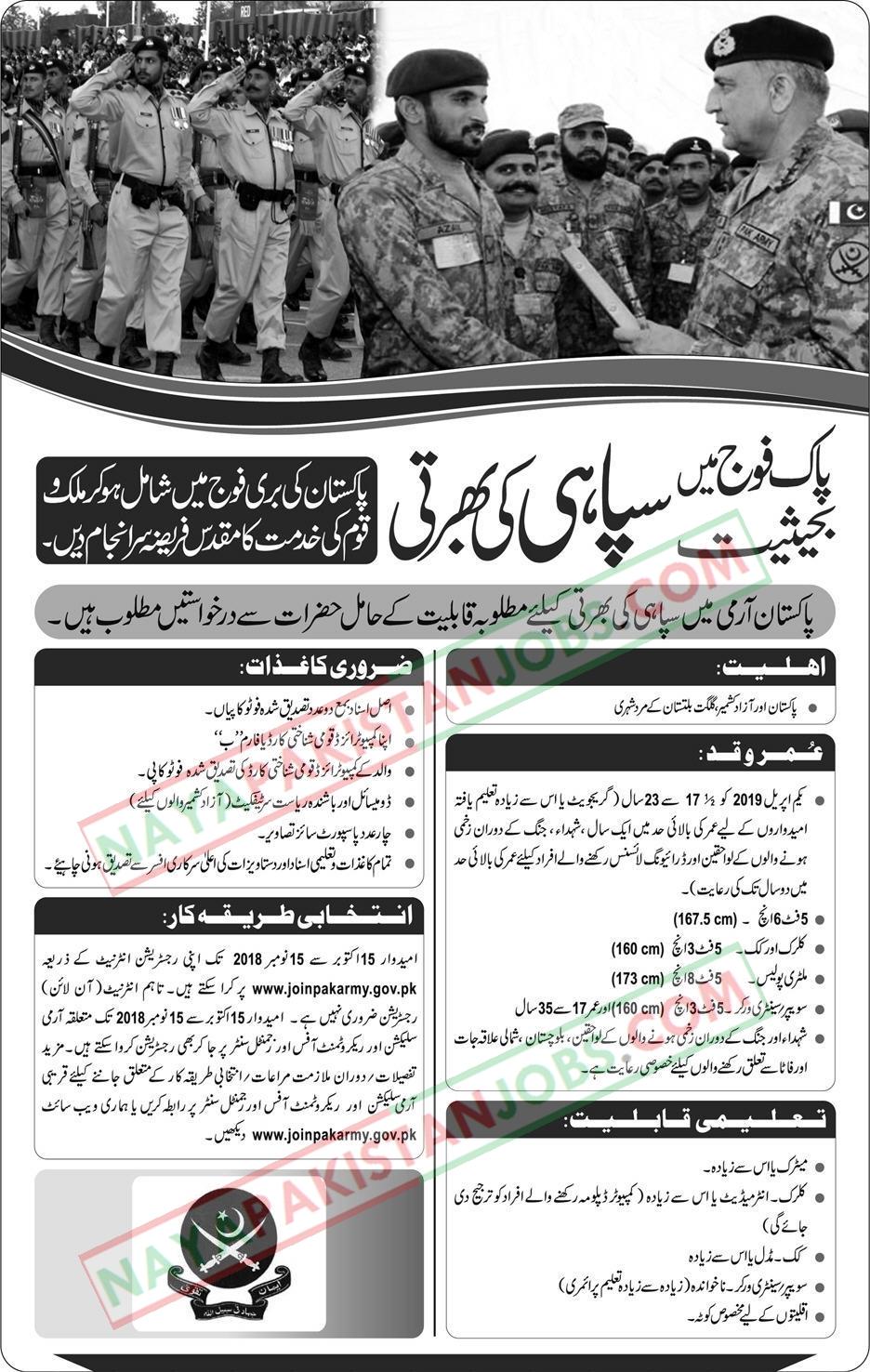pak army jobs 2018, pak army jobs 2018 soldier, pak army jobs 2018 soldier last date, join pak army 2018, join pak army online registration 2018