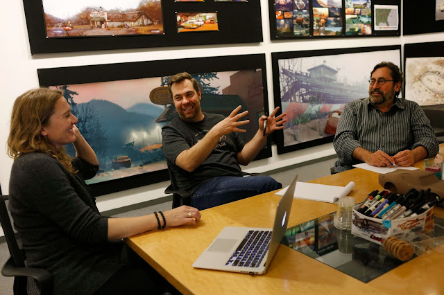 Cars 3 story session with Kiel Murray, Brian Fee and Bob Peterson