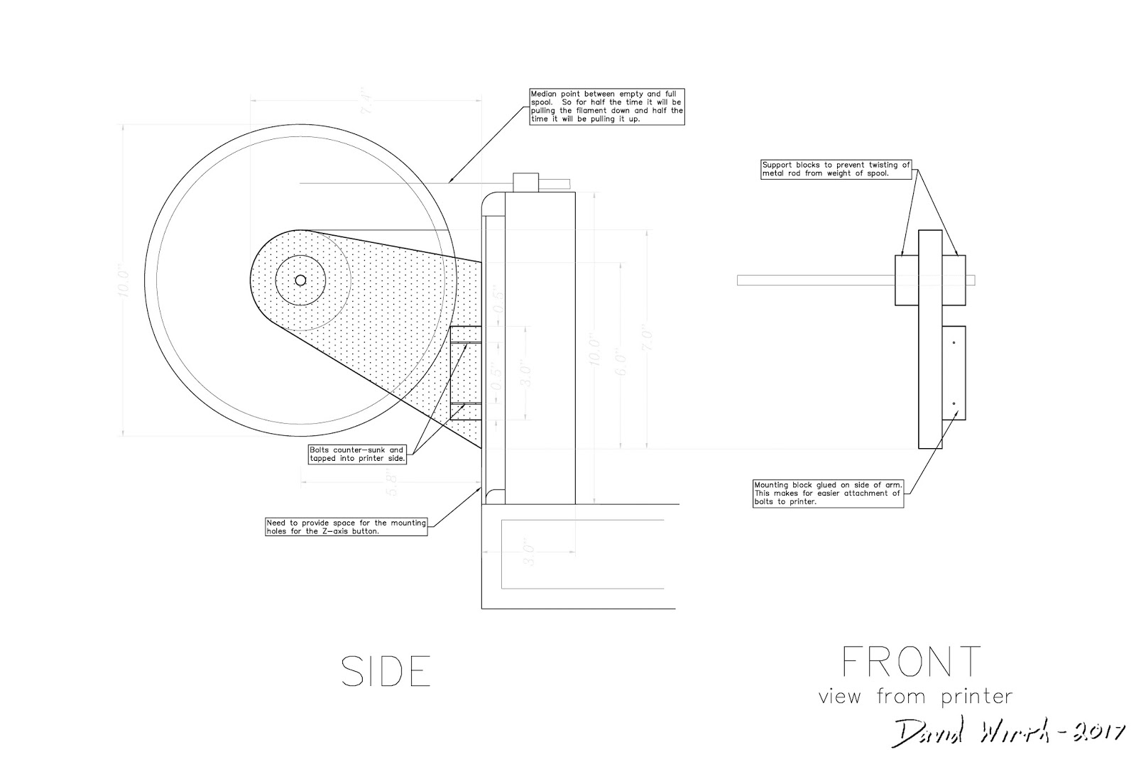 intro to d printing a series a design i did on autocad for a filament spool holder