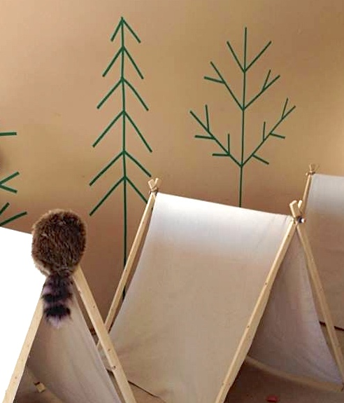 painters tape trees and DIY tents