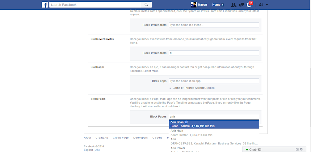 Facebook Blocking Settings page name here