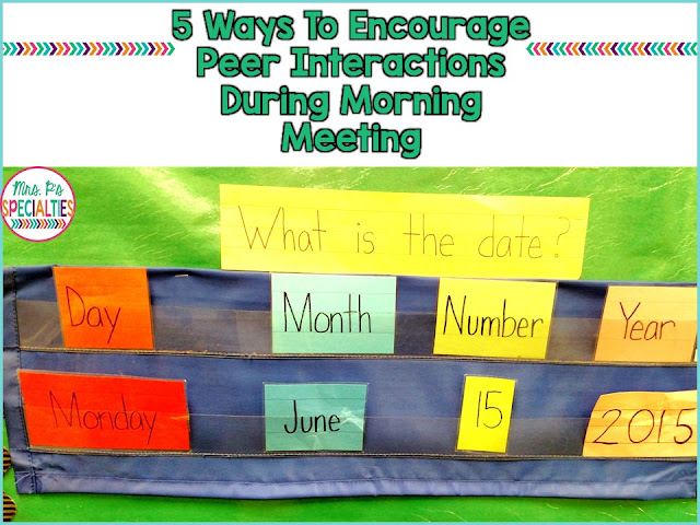 Here are 5 easy ways to encourage peers to interact with each other during morning meeting. These ideas are perfect for self-contained classrooms, students with autism, speech therapists and life skills programs.