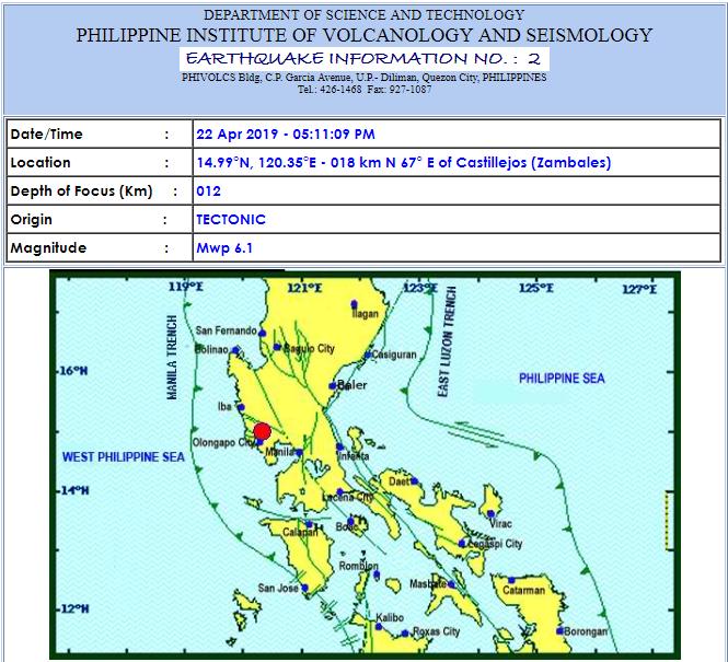 Magnitude 6.1 earthquake shakes Metro Manila, Luzon on April 22, 2019