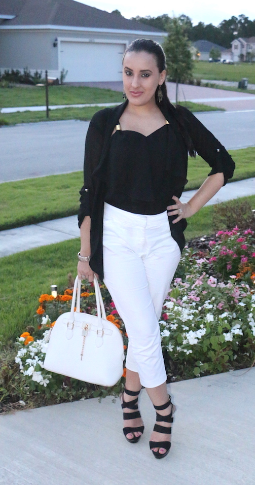 Monochrome-White-Capri-Pants-Black-Chiffon-Cardigan-OOTD