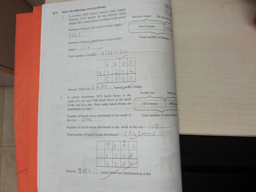 Pis Vadodara Std 3 Grade 3 Math Ch 3 Addition Workbook