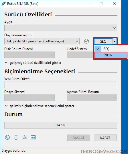 RUFUS İle Windows 10 İSO Dosyası İndirmek
