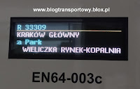 EN64-003 tablica kierunkowa, Przewozy Regionalne, Kraków Główny