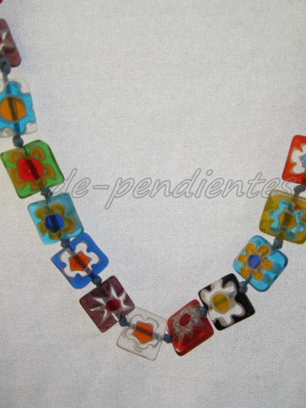 dd1fa04912fd Collar Murano colores modelo  cristal flores grandes   cuadrado