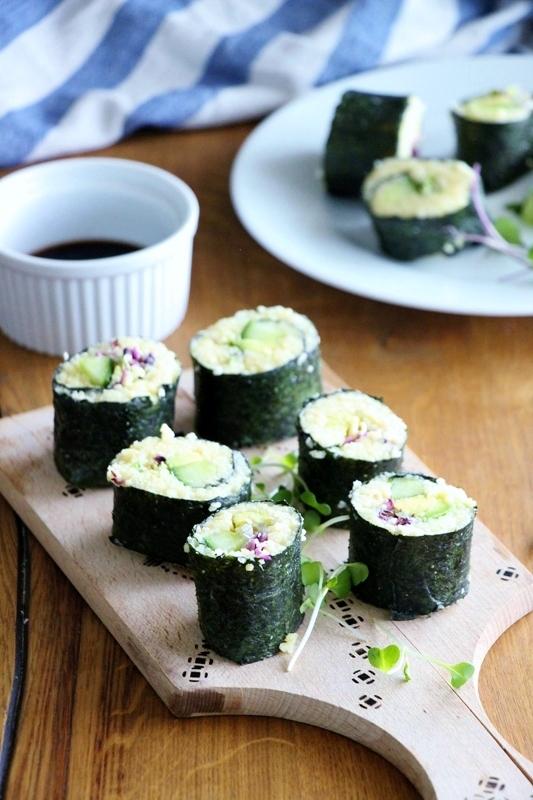 Veganes Sushi mit Hirsefüllung