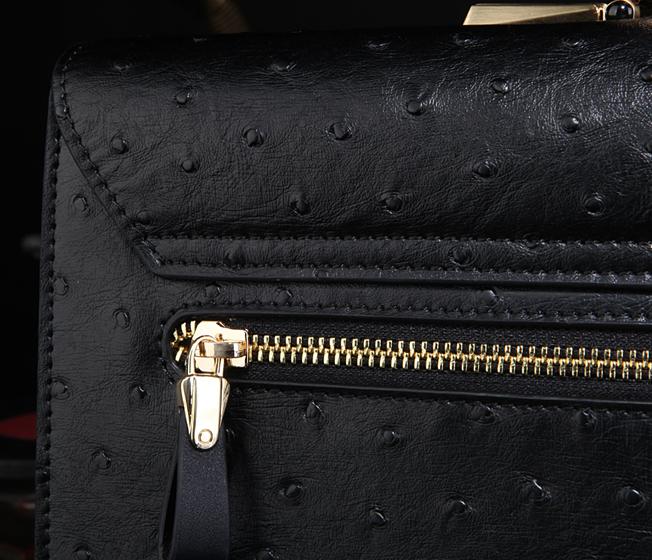 2216eaf6bb Pilaeo Mens Black Ostrich Leather Patterned Briefcase Zipper
