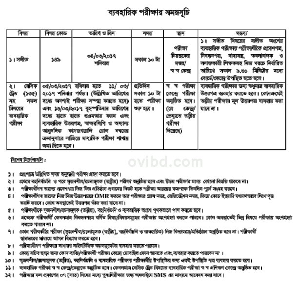 SSC Exam Routine 2017 Practical
