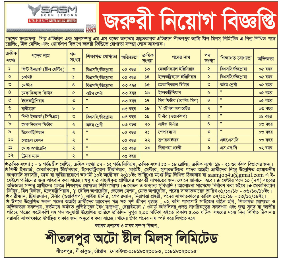 Sitalpur Auto Steel Mills Limited Job Circular 2018