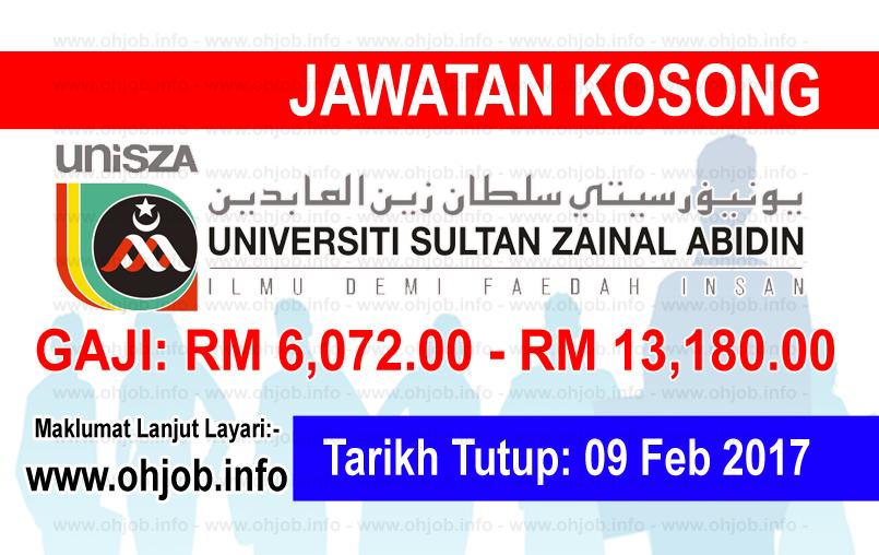 Jawatan Kerja Kosong Universiti Sultan Zainal Abidin (UniSZA) logo www.ohjob.info februari 2017