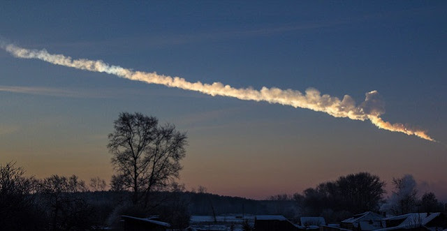 The Chelyabinsk meteor seen here exploded over Russia on Feb. 15, 2013.