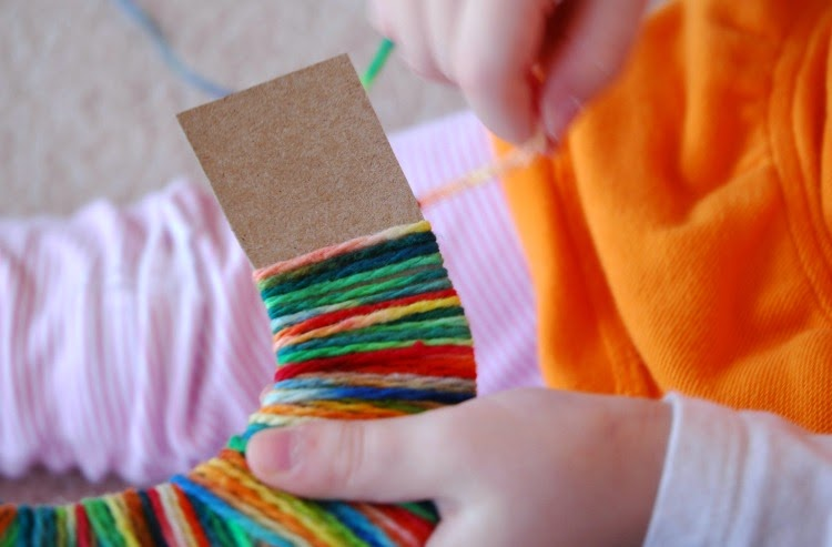 Rainbow Yarn Wrapping Craft for Preschool