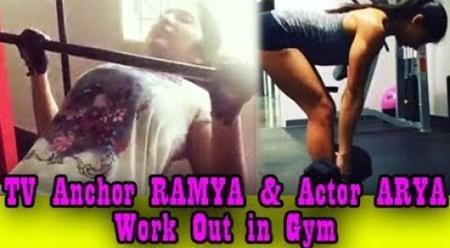 Vijay TV Anchor Ramya's Hot Exercise. Arya trains her in 1st Video
