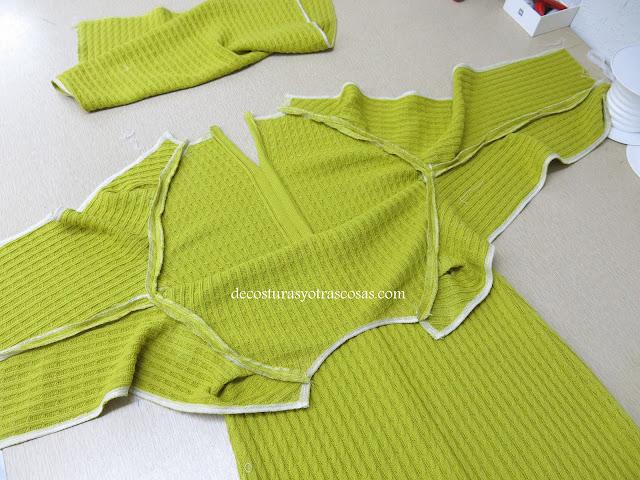 proceso de confección vestido de punto canelé