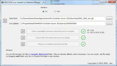 PES 2016 PC/PS3 Tool Merge Live Update Files With Database Files v1.2 by zlac