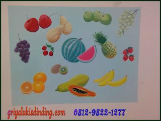 Mural lukis dinding tema gambar buah-buahan