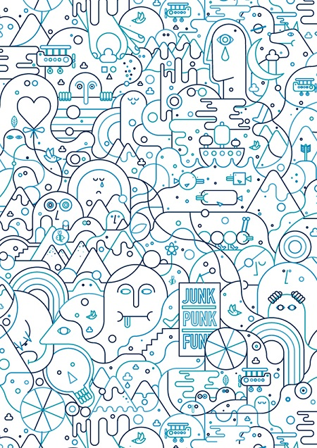 Cool stuff: bonito dibujo abstracto, caras y lineas azules.