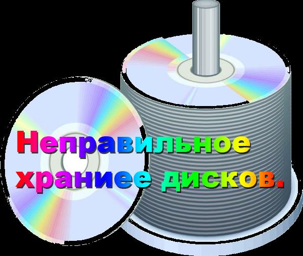 неправильное хранение дисков.