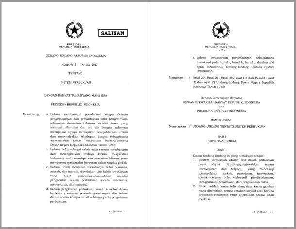 Undang-Undang Nomor 3 Tahun 2017 tentang Sistem Perbukuan