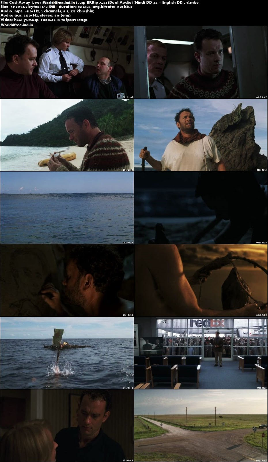 Cast Away 2000 world4free.ind.in Dual Audio BRRip 720p Hindi English