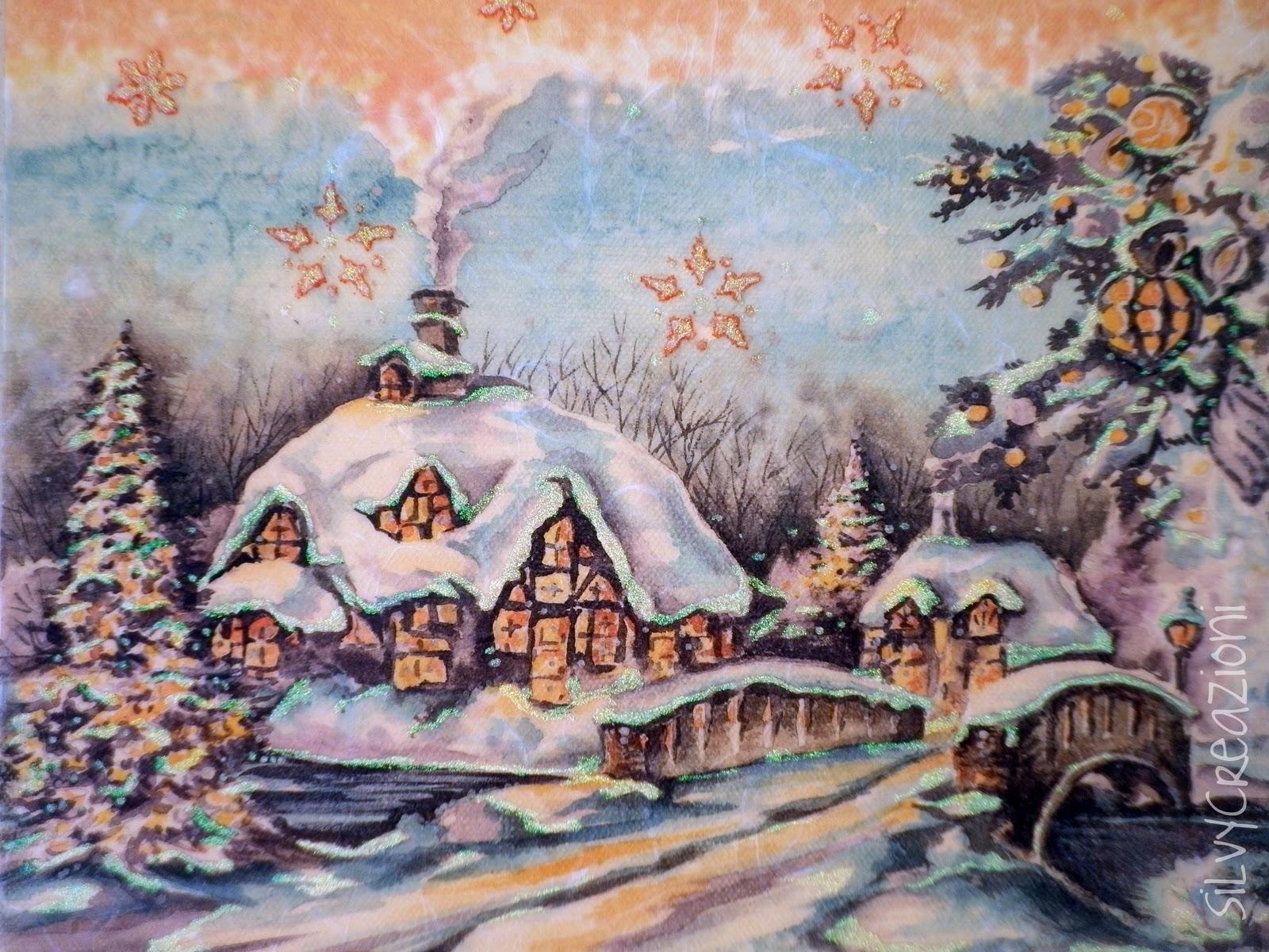 SilvyCreazioni Paesaggio nataliziocon le luci