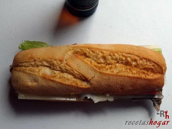 Receta del bocadillo de Ternera con queso curado
