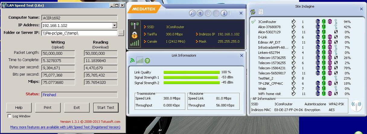 Esempio di trasferimento dati ed interfaccia LAN Speed Test