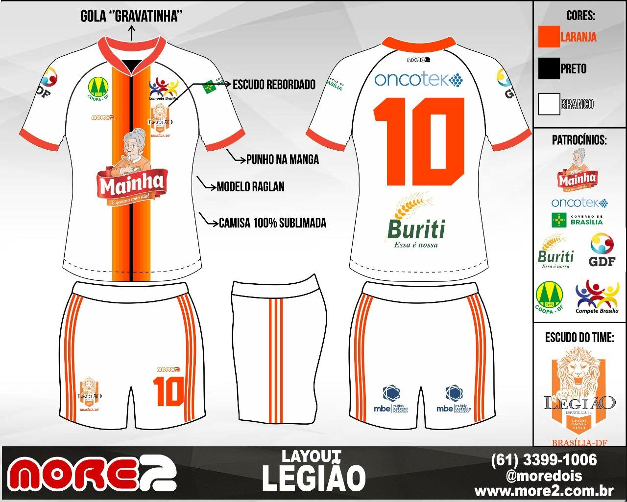 O design do uniforme principal será predominantemente preto com duas  listras verticais centrais em laranja. A camisa reserva seguirá o mesmo  conceito 5d01b0173c894