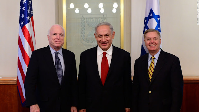 Neoconservatives John McCain and Lindsey Graham with Netanjahu