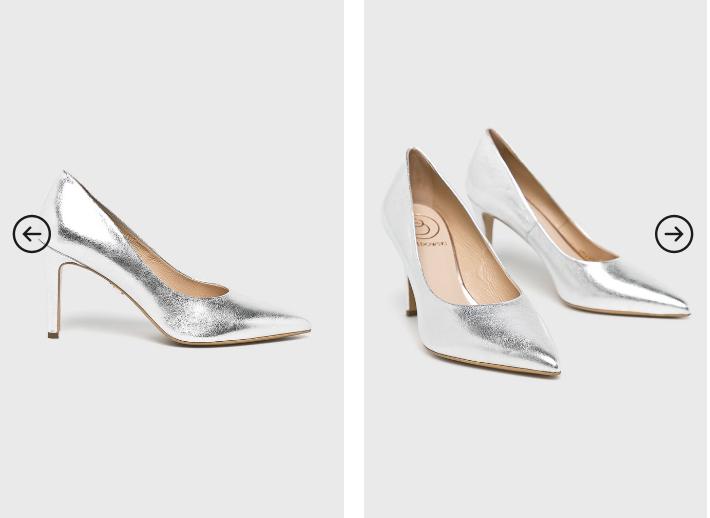 Baldowski - Pantofi cu toc argintii eleganti din piele originali