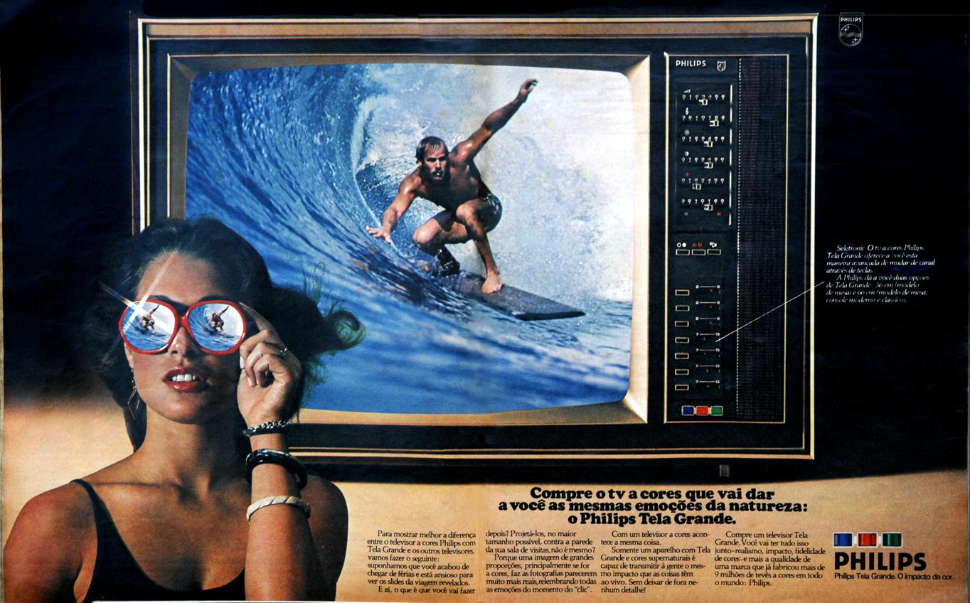 Propaganda antiga da Philips apresentando a TV a cores em 1976