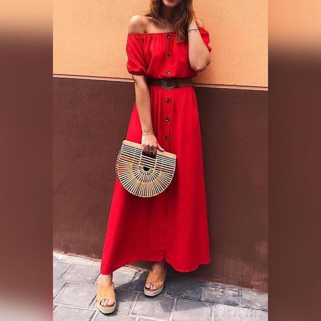 Μοντέρνο μάξι κόκκινο φόρεμα MARTENA
