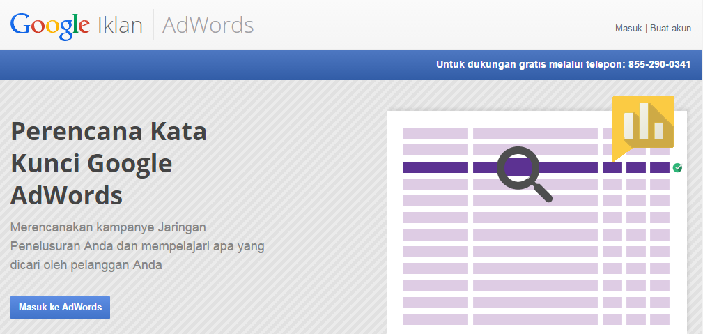 sign-in di google adwords untuk melangkah ke riset kata kunci