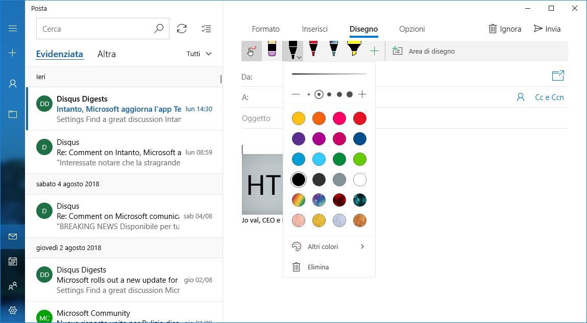 Disegno-Posta-mail-composizione-Windows-10