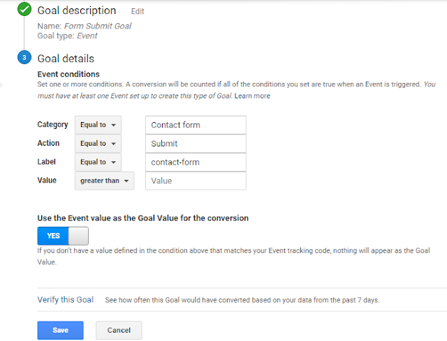 google analytics event goal creation for form submission