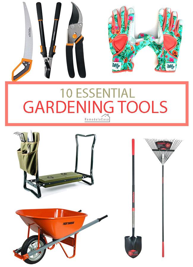 10 Essential tools for the gardener - Wheelbarrow, garden gloves, pruner, shovel, etc.