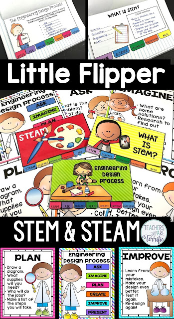 This is a great booklet to create for Back to School with your students. This flipper book set is about STEM, STEAM, and the Engineering Design Process! Create five, six, or seven-page booklets with colorful covers or color your own covers. And, a full-size poster set is included to display as students work! #STEM #Backtoschool