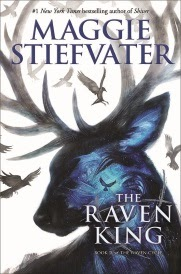 Cover of The Raven King, featuring a dark blue stag with ravens circling deep within him.