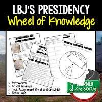LBJ,  Progressive Era, American History Activity, American History Interactive Notebook, American History Wheel of Knowledge