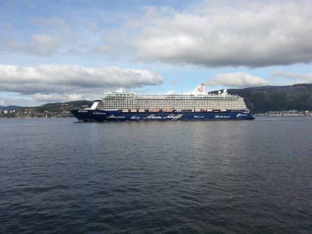 TUI cruise ship Mein Schiff 4 in Bergen, Norway; Fjords Cruise