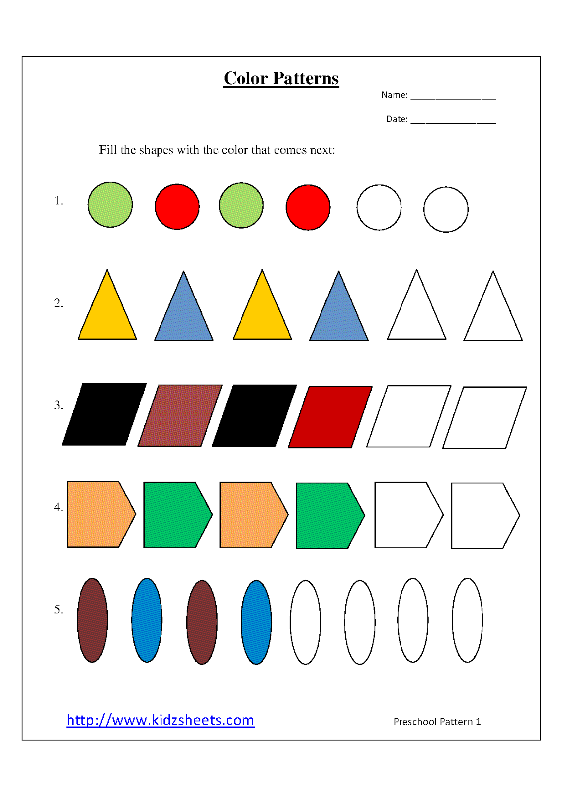 Kidz Worksheets: Preschool Color Patterns Worksheet1 [ 1600 x 1131 Pixel ]