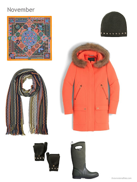 an orange winter coat with olive green accessories