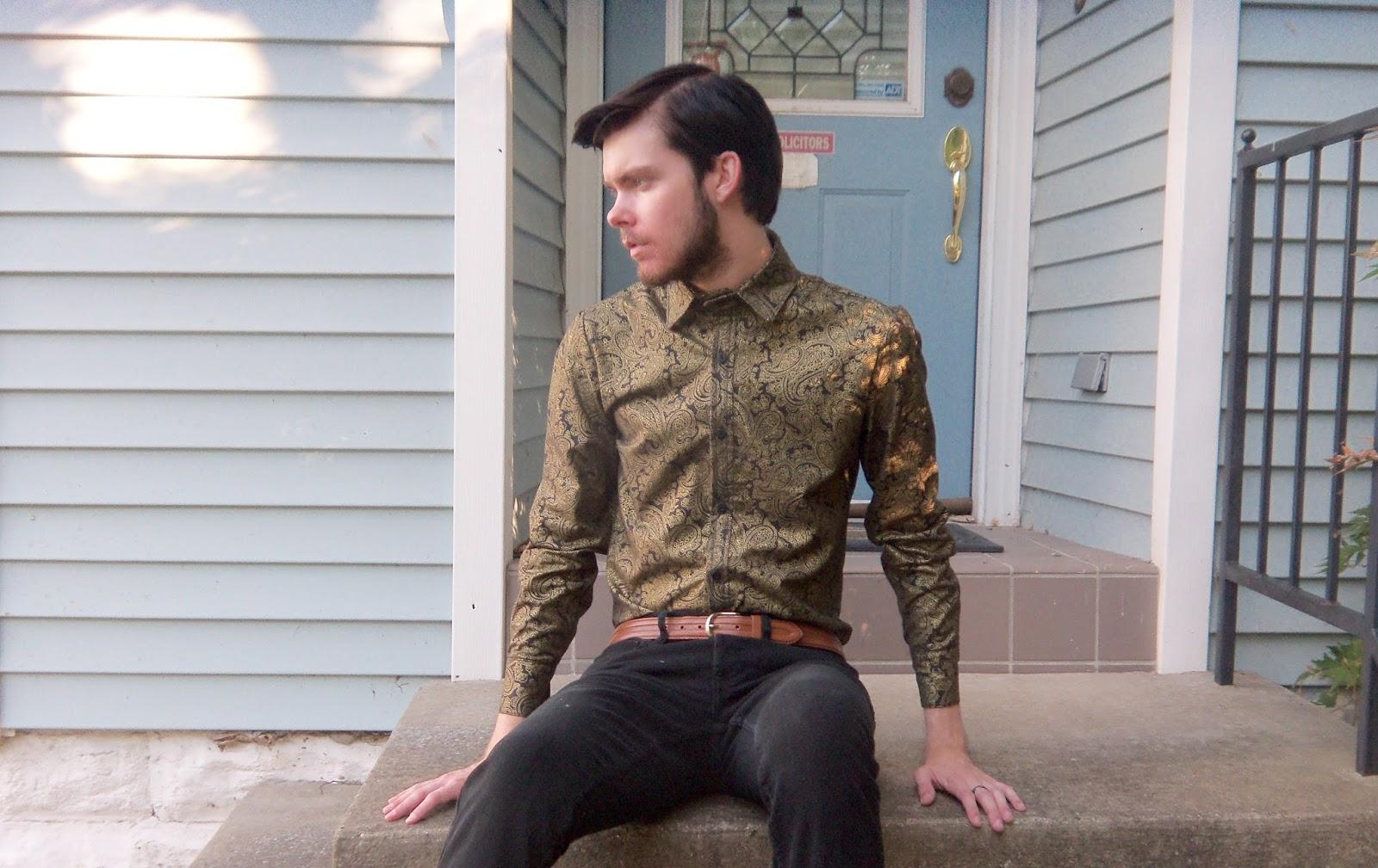 Sewing a black gold paisley long sleeve men's shirt